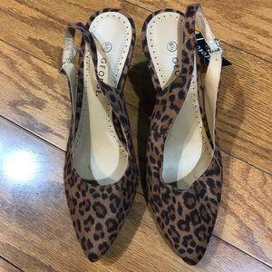 George leopard slingback heels